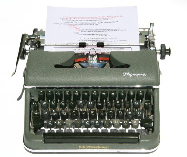 7 Fiona Banner Mother, 2009, Reconstructed Typewriter with paper, 33 x 15 x 30 cm