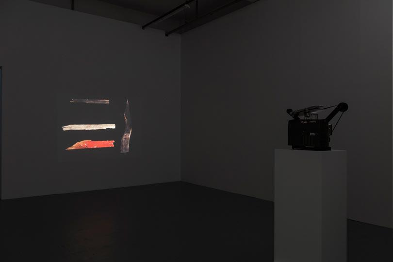 Installation image of Paul Sietsema, Telegraph, 2012, 16mm film, 12 min loop, photographer Dave Morgan (2)