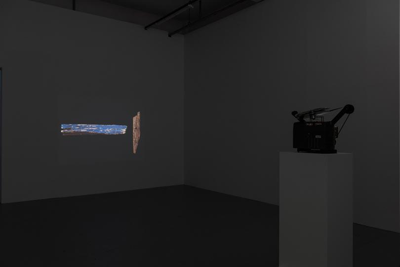 Installation image of Paul Sietsema, Telegraph, 2012, 16mm film, 12 min loop, photographer Dave Morgan