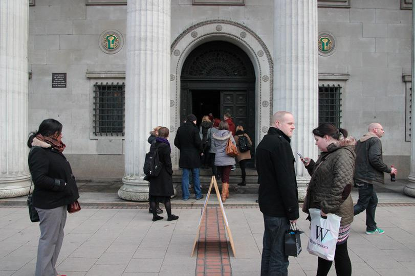 1 Queue before opening of Thrift Radiates Happiness at Birmingham Municipal Bank 14th March 2013