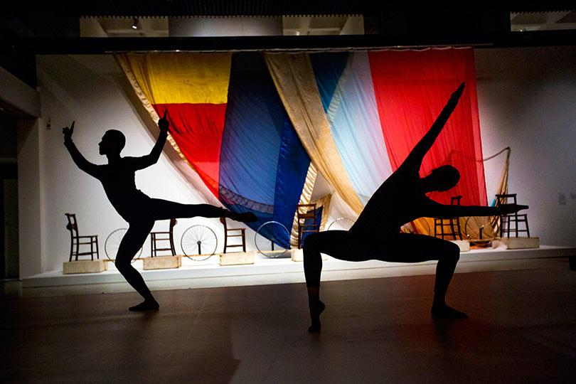 2 Dancers perform Merce Cunningham choreography in the exhibition Photo Felix Clay 2013