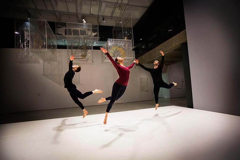 3 Dancers perform Merce Cunningham choreography in the exhibition Photo Felix Clay 2013