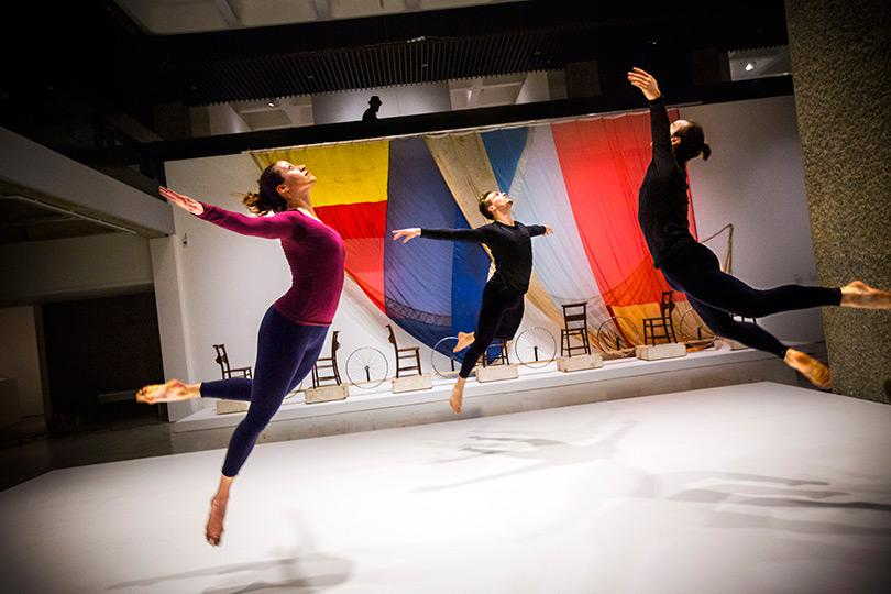 4 Dancers perform Merce Cunningham choreography in the exhibition Photo Felix Clay 2013