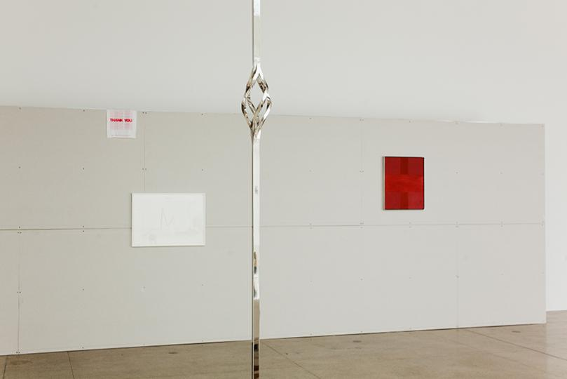 Johannes Porsch Display Jimmie Durham Untitled Hassan Khan Twist Ad Reinhardt Red Painting 1953 Unruhe der Form Unrest of Form Secession 2013 photo Oliver Ottenschlaeger