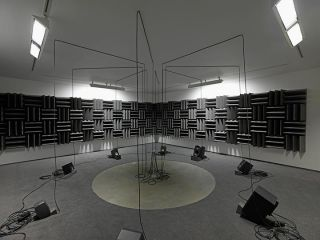 Haroon Mirza, Adam, Eve and a UFO , 2013, Active speakers, UFO circuit, cables Courtesy the artist and Lisson Gallery