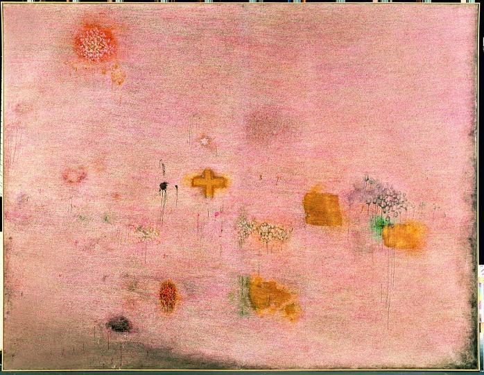 Peinture Ecriture rose 1958 1959 Centre Pompidou, Musce national d'art moderne, Paris Don de l'artiste en 1985.Adagp Paris 2013