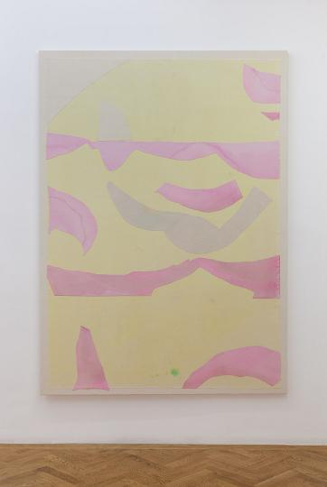 Pink and yellow seascape installation view