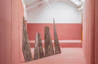 Stefan Tcherepnin Topiary Teeth 2014  Concrete, iodine, pinot noir, resin boards