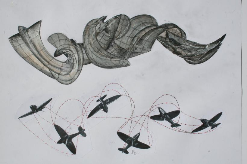 Early drawings for slipstream by richard wilson