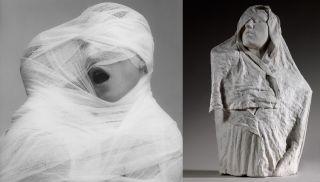Robert Mapplethorpe (1946-1989), White Gauze, 1984, MAP 1330 copyright 2014 Robert Mapplethorpe Foundation, Inc. All rights reserved — Auguste Rodin (1840-1917), Torse de l'Age d'airain drapé, vers 1895, plâtre, 78 x 49