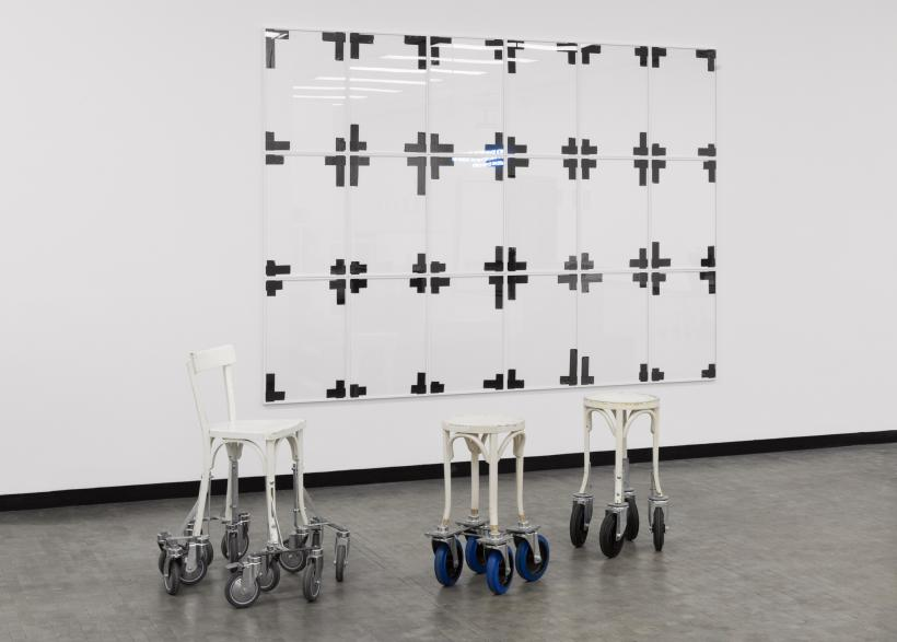 Installation view: New Ways of Doing Nothing, Photo: Stephan Wyckoff: Ryan Gander, You had the time, but I didn't have the money, 2011, Courtesy gb agency, Paris; Marina Faust, Travelling Chairs, 2003-2010, Courtesy the artist