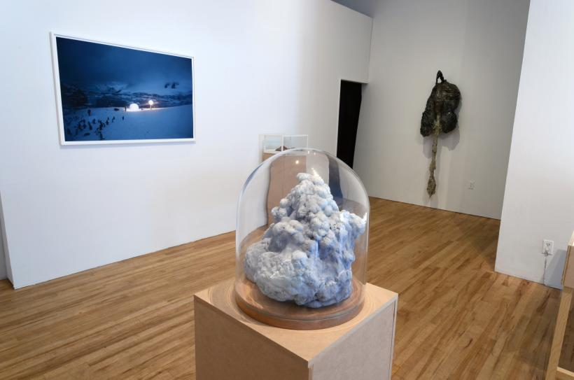 Pierre Huyghe, A Journey that Wasn't, 2008, Color Photograph, 33 7/8 x 49 5/8 inches; Roxy Paine, Cloud Specimen, 2009, Epoxy, thermoset polymer, oil, lacquer, wood, glass, steel, 13 x 11 x 11 inches; Tomer Sapir, Untitled, 2012, Cement, wi