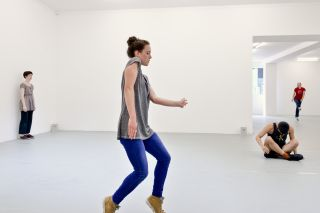 Trio A, 1966 Dancers in training with Pat Catterson and Yvonne Rainer, July 2014