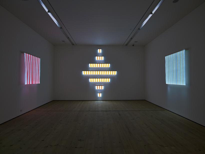 7 Lines of Electric Light for a Diamond: situated work (2011) woven fibre optic, LED (white, orange), metal boxes / A Square of Electric Light # 1situated work (2011) woven fibre optic, LED (white, blue), metal box / A Square of Electric Light # 4 si