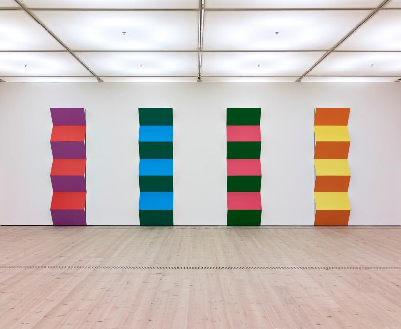 Daniel Buren, Zigzag for 2 Colours Haut-relief (paprika and violet): situated work, Zigzag for 2 Colours Haut-relief (blue and green): situated work, Zigzag for 2 Colours Haut-relief (green and pink): situated work, Zigzag for 2 Colours Haut-relief (