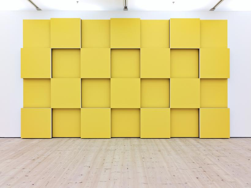 Daniel Buren, 14 Rising Cubes Bas-relief (yellow): situated work, 2007-2014, paint, plywood and black tape, BALTIC Centre for Contemporary Art
