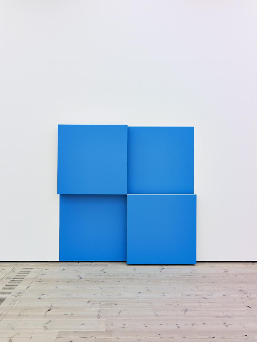 Daniel Buren, 2 Rising Cubes Bas-relief (blue): situated work, 2007-2014, paint, plywood and black tape, BALTIC Centre for Contemporary Art