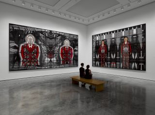 Gilbert & George, SCAPEGOATING PICTURES FOR LONDON, installation view at White Cube Bermondsey
