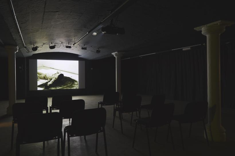 Stuart Brisley: State of Denmark, Film Installation image, Modern Art Oxford Basement (2014)