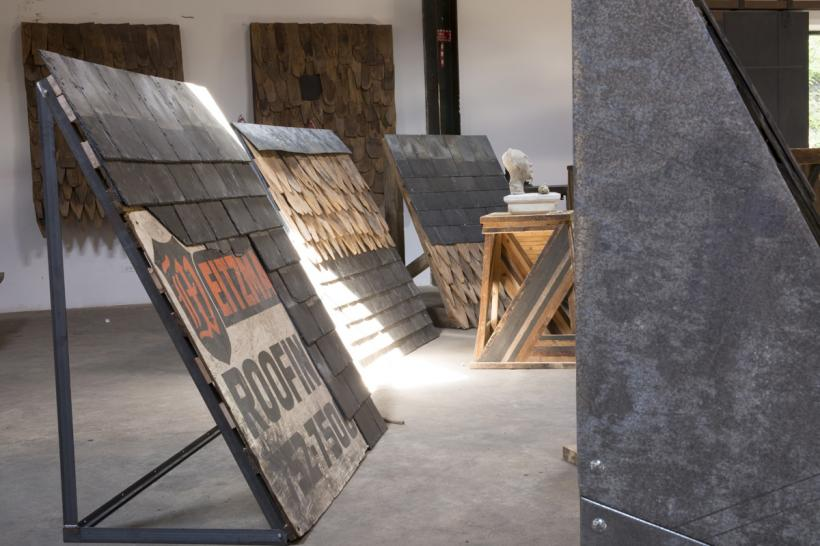Artes Mundi 6, Theaster Gates: Roof (setup in studio)