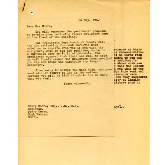 19 1967 letter to Moore concerning resiting of sculpture