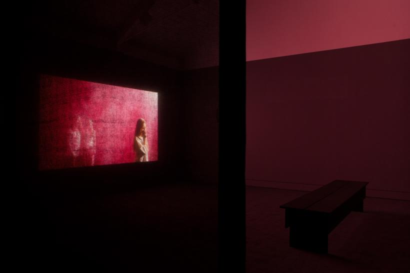 Installation view of Blood.  Produced as part of the Jerwood/FVU Awards 2015, What Will They See of Me? on show at Jerwood Space