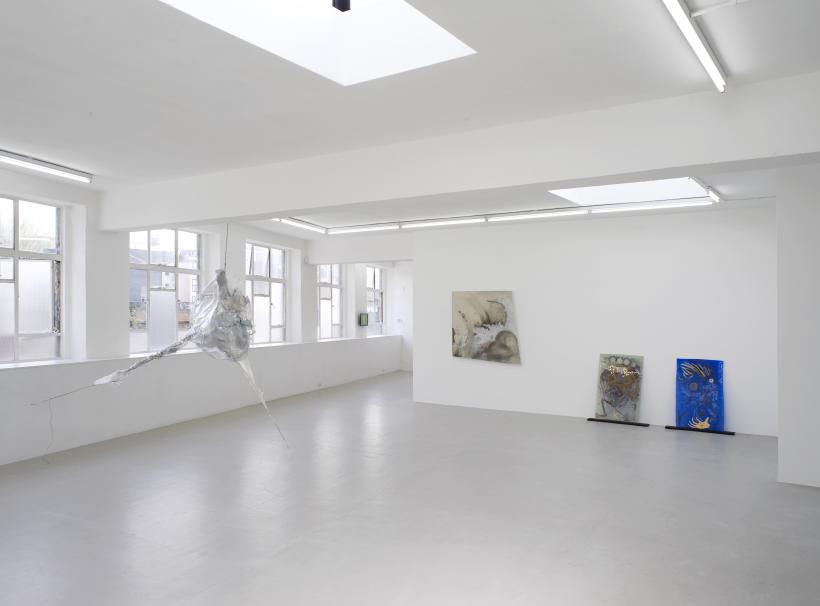 Installation view, Daiga Grantina, Amy Sillman, Lucy Dodd, Kerstin Bratsch