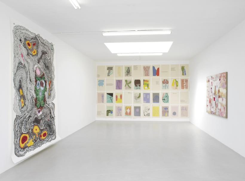 Installation view, Kerstin Bratsch, Amy Sillman, Joan Snyder