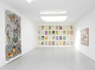 Installation view, Kerstin Bratsch, Amy Sillman, Joan Snyder