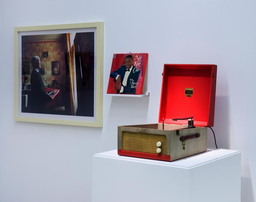 Julian Germain, Untitled photograph, 1992-2005 and 1960s Dansette player, Installation view, The Curves of the Needle, Group exhibition BALTIC's project space at BALTIC 39