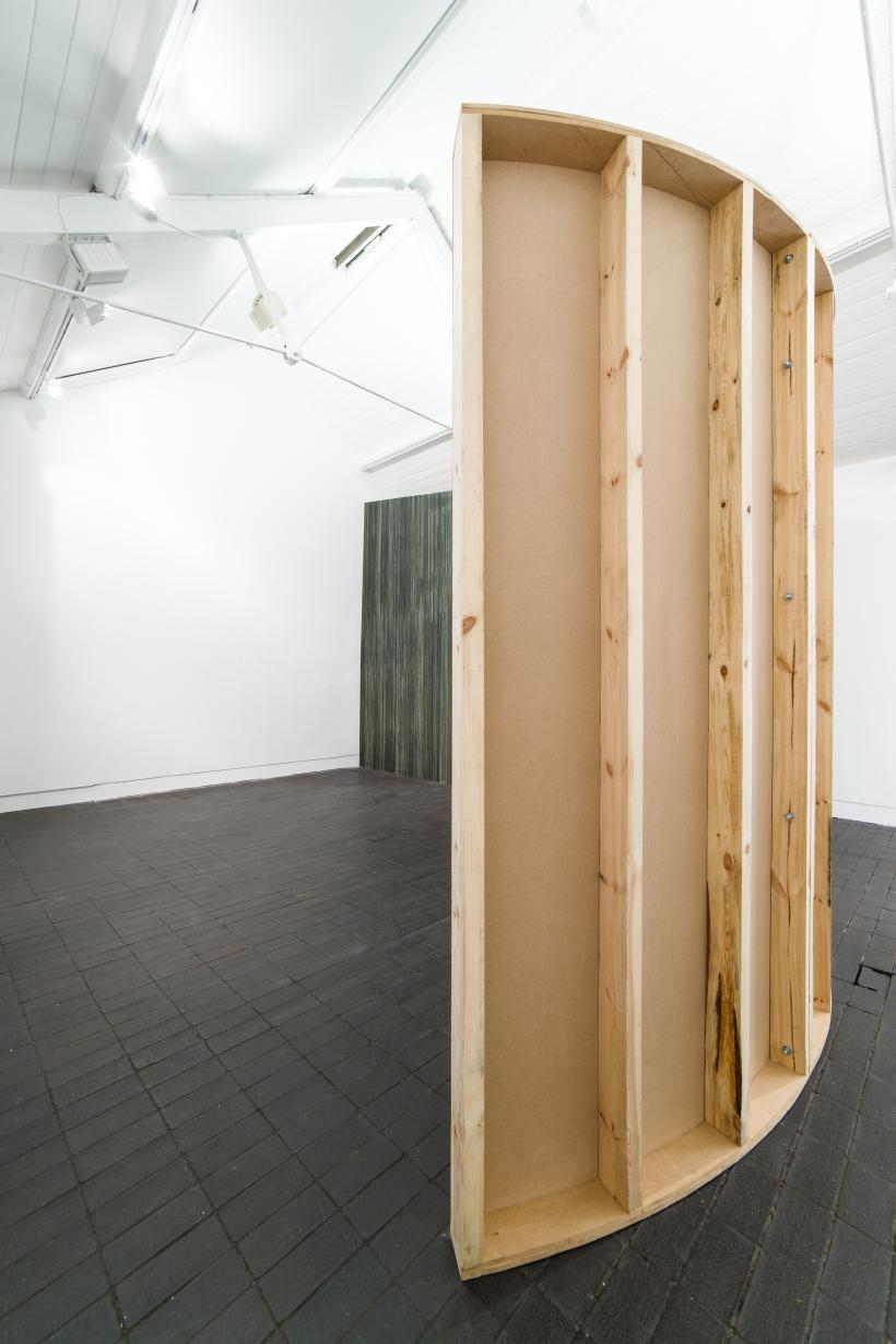 Kelly Best, Velum, Jerwood Encounters: 3-Phase, 2015. Installation view (from behind), Jerwood Space, London