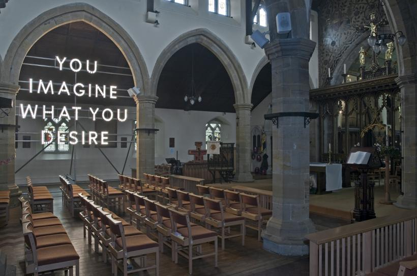 You Imagine What You Desire (Brighton) © Nathan Coley 2015, illuminated text, scaffolding, photo by Nigel Green