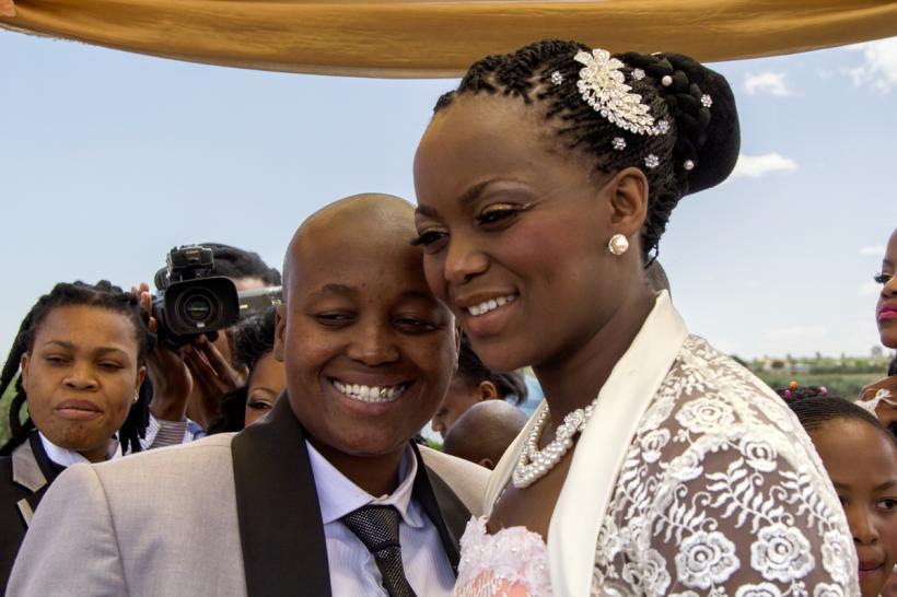 Zanele Muholi, Ayanda & Nhlanhla Moremi's wedding I. Kwanele Park, Katlehong, 9 November 2013, 2013. Chromogenic photograph, 107⁄16 x 149⁄16 in. (26.5 x 37 cm), framed