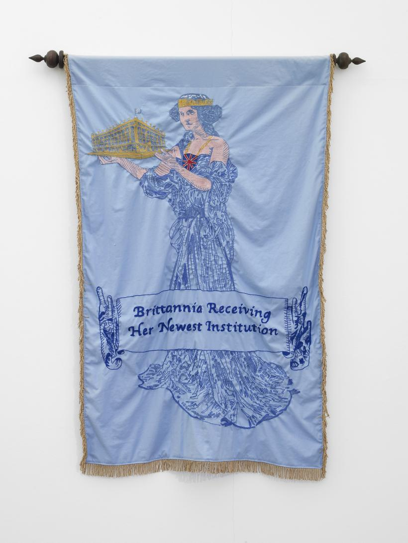 Britannia Receiving Her Newest Institution, hand embroidered banner, 2012