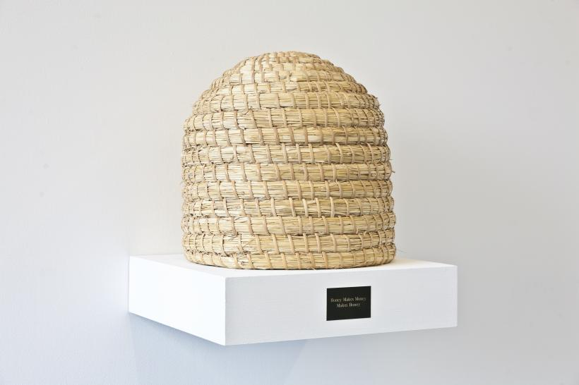 Honey Makes Money Makes Honey, hand woven wicker beehive, 2012