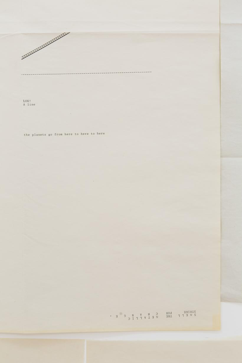 Sue Tompkins, The view from the long couch, 2015, Typewritten text on newsprint, 29 sheets, dimensions variable