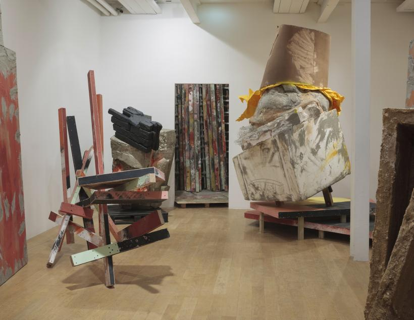 Installation view: set, The Fruitmarket Gallery, Edinburgh, 2015. Left to right: untitled: caro, 2015, timber, plywood, filler, paint, 360 x 480 x 270 cm; untitled: block, 2015, timber, polystyrene, cement, paint, PVA, steel, wire mesh, 190 x 140 x 2