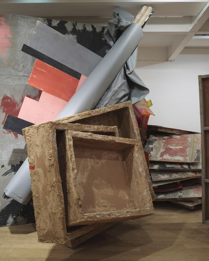 Phyllida Barlow: untitled: boxes, 2015, Installation view: set, The Fruitmarket Gallery, Edinburgh, 2015
