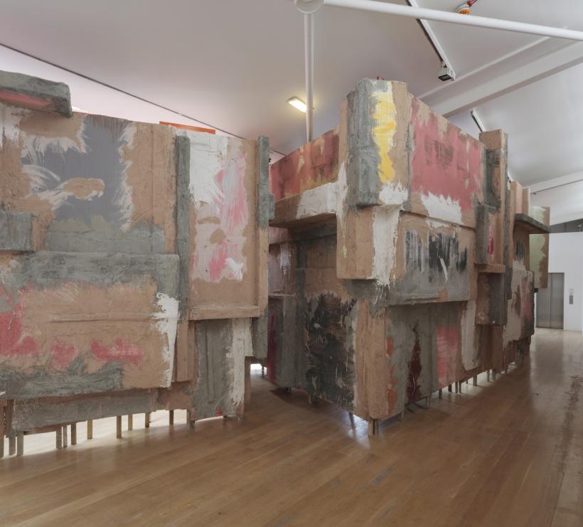 Phyllida Barlow, untitled: blockade, 2015, Installation view: set, The Fruitmarket Gallery, Edinburgh, 2015