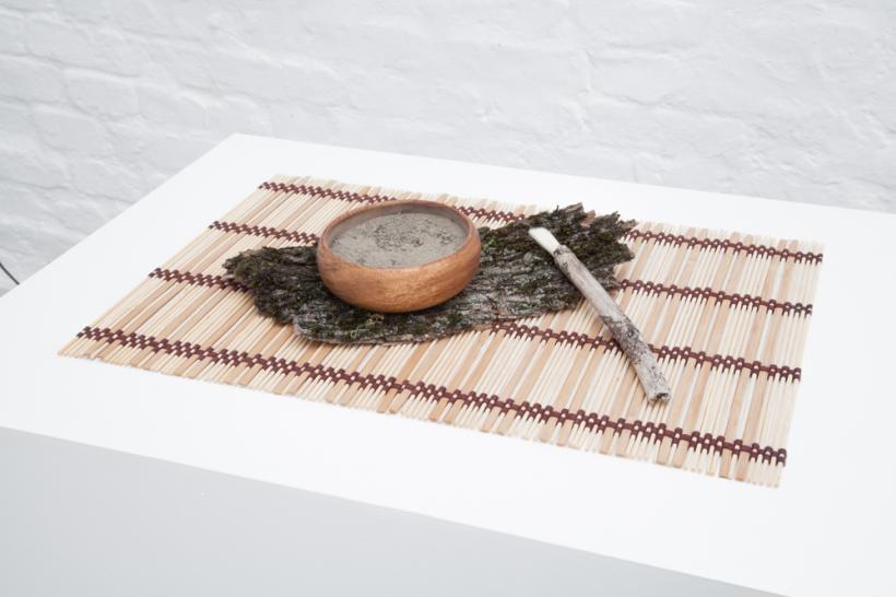 Andreas Ervik, SANKE LEIRE, 2015, clay, wooden bowl, brush, tatami mat