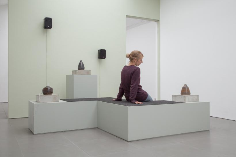 Ian Giles, Hazey, 2015, Ceramics, ultrasonic aroma diffusers, oils, concrete, MDF, carpet, paint, speakers, and sound mix, dimensions variable