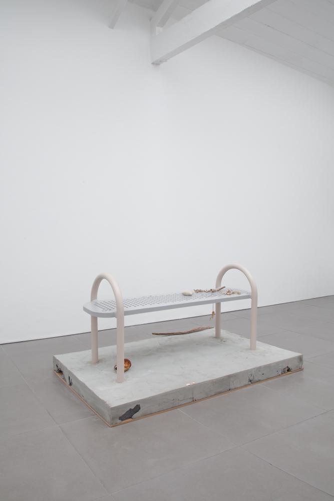 Pablo Jones-Soler, Benches, 2015, concrete, powder coated steel, mixed media, 150 x 90 x 76 cm