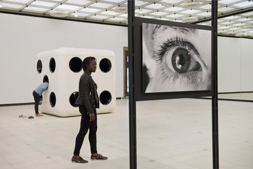Dice (White Body, Black Dots), 2014 and Reflections On Her Eyes, Reflections On My Eyes, 1996/2015. Installation view.
