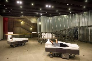 Two Roaming Beds (Grey), 2015. Produced with Bonniers Konsthall, Stockholm, and HangarBicocca, Milano. Installation view, Hayward Gallery, London, 2015.