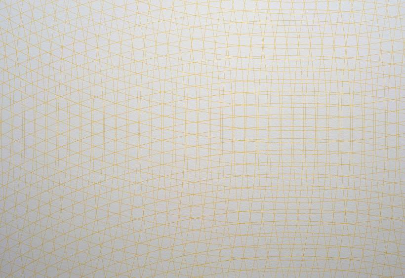 Wall Drawing 110: Yellow arcs from the midpoints of four sides of the wall (ACG 10)
