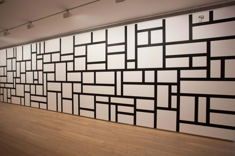 Wall Drawing 614: Rectangles formed by 3-inch (8 cm) wide India ink bands, meeting at right angles.