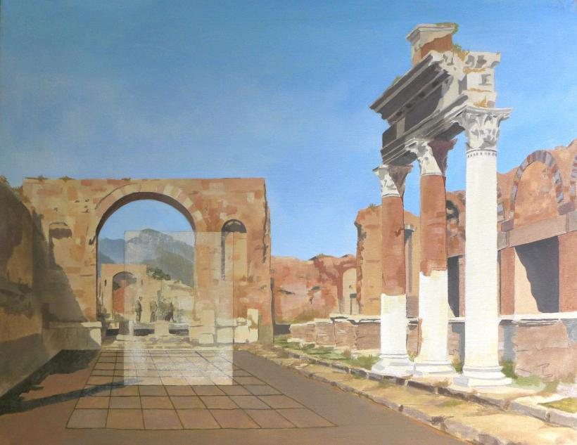 Alexander Massouras, Souvenir Pompeii Scavi (Arco di Germanico), 2012, oil and paint stripper on linen