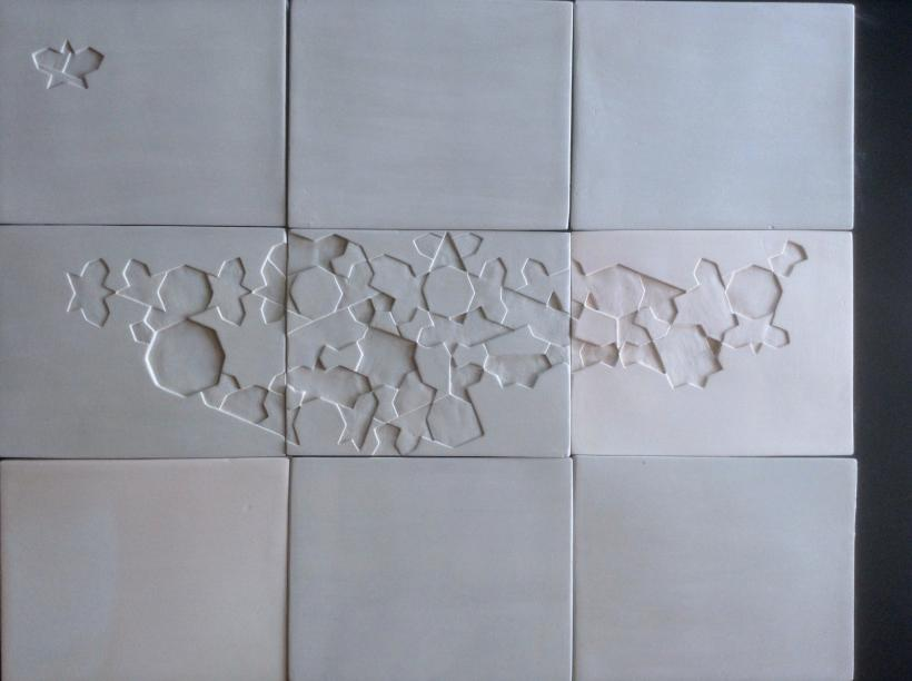 Sara Ouhaddou, Ceramic wall installation in nine pieces, Version 2