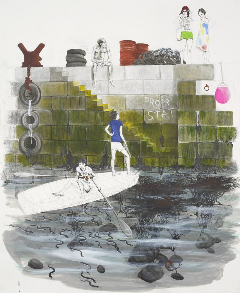 Charles Avery, Untitled (Two Guys in Boat Approaching Quayside), 2015, 139 x 113 cm, Pencil, acrylic and ink on paper