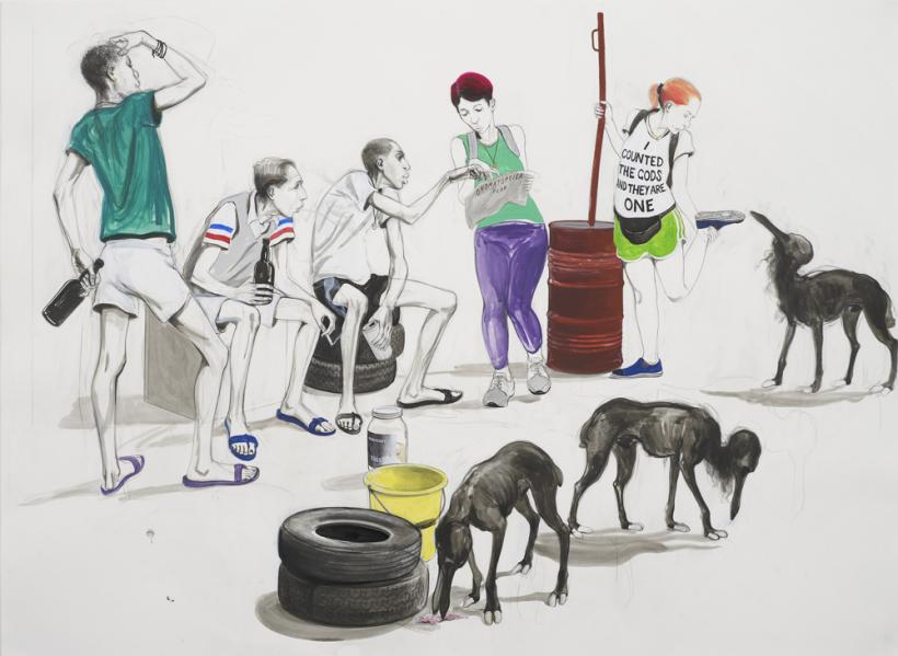 Charles Avery, Untitled (Tourists talking to Itinerants), 2015, Pencil, acrylic and ink on paper, mounted on linen, 84 x 114 cm page size 96.5 x 126.5 cm framed